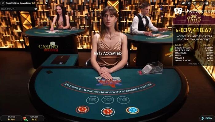 Texas Hold'em Bonus evoluton gaming